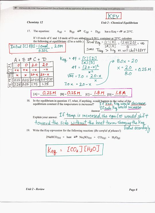 Unit 2 Chemistry Review Answers on chemistry unit 6 worksheet 1