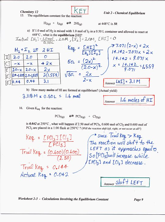 Chemistry Unit 5 Worksheet 2 Answers - Pichaglobal