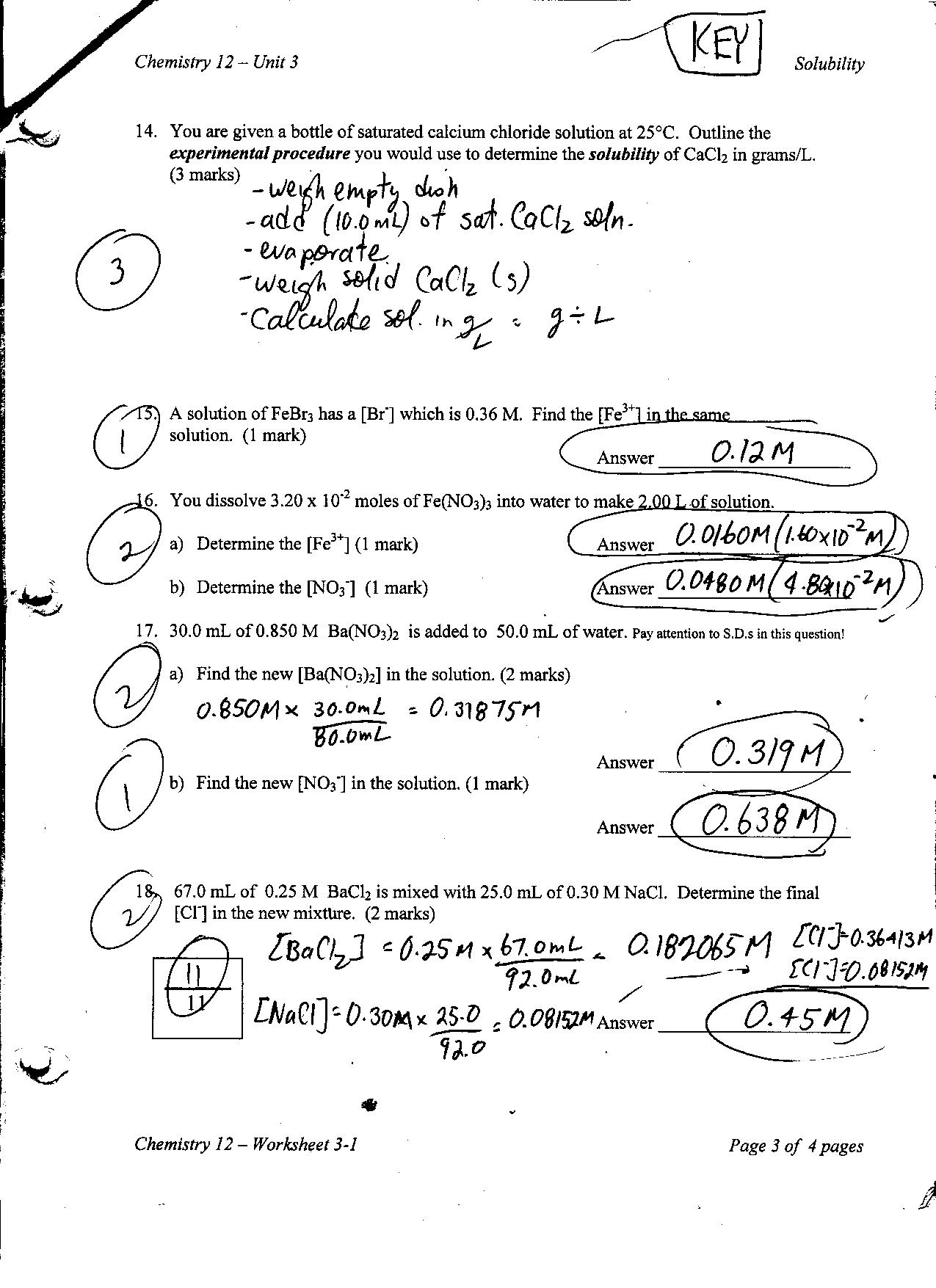 Chemistry 12 Mr Nguyens Website – Chemistry Unit 1 Worksheet 3