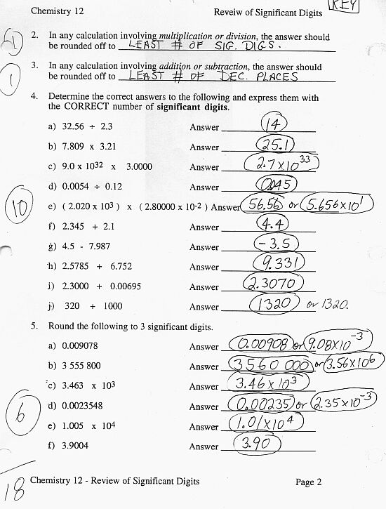 Calculations using significant figures worksheet answers chemistry if8766