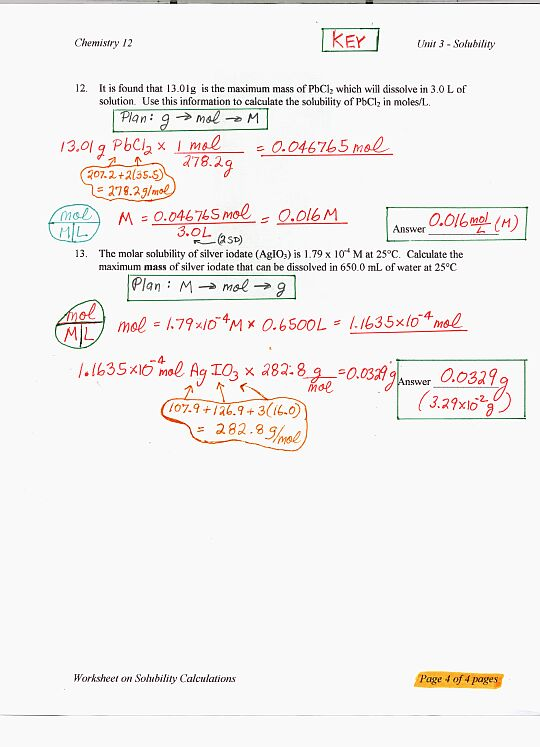 Solubility Product Worksheet